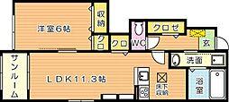 プレヴェルジェ二島[1階]の間取り