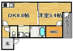 大阪府大阪市東淀川区下新庄5丁目の賃貸アパートの間取り