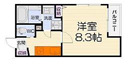 大阪府高石市綾園6の賃貸アパートの間取り