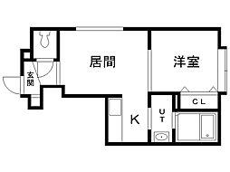 インペリアル東札幌 2階1LDKの間取り