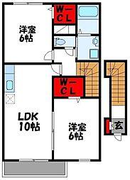 福岡県遠賀郡岡垣町中央台6丁目の賃貸アパートの間取り