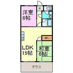 愛知県半田市青山2丁目の賃貸アパートの間取り