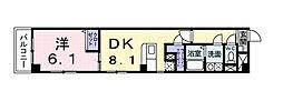 一葉松フェイズ2 3階1DKの間取り
