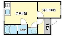 兵庫県姫路市飾磨区今在家の賃貸アパートの間取り