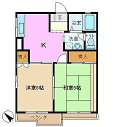 パインクレスト A棟[2階]の間取り