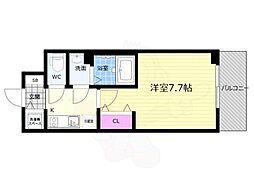 JR東海道・山陽本線 西大路駅 徒歩5分の賃貸マンション 2階1Kの間取り