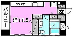 quinze lieu(カーンズ・リュー) 1階ワンルームの間取り