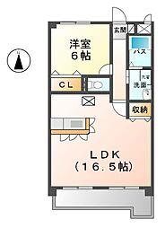 愛知県北名古屋市中之郷天神の賃貸マンションの間取り