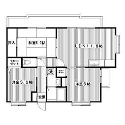 アルカサール東戸塚[208号室]の間取り
