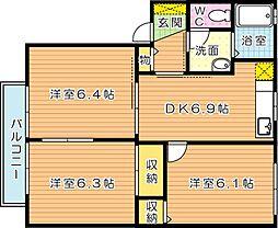 アルカディア B棟[2階]の間取り
