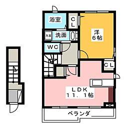 愛知県名古屋市緑区大高町字追風丁目の賃貸アパートの間取り