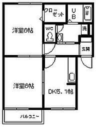 ハイホームサンタムール 名古屋市西区[202号室]の間取り