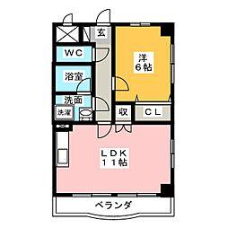 レジーナ鳥居松[4階]の間取り