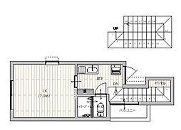 広島電鉄宮島線 佐伯区役所前駅 徒歩7分の賃貸アパート 2階1Kの間取り