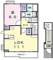西武池袋線 東久留米駅 徒歩17分の賃貸アパート 2階1LDKの間取り