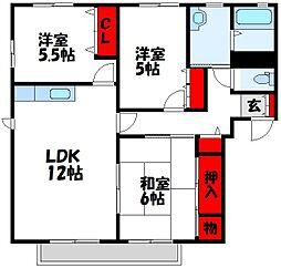 福岡県宗像市日の里6丁目の賃貸アパートの間取り