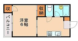 福岡県福岡市中央区輝国2丁目の賃貸マンションの間取り
