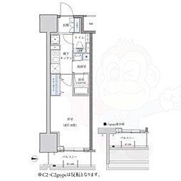 名古屋市営東山線 新栄町駅 徒歩9分の賃貸マンション 13階1Kの間取り