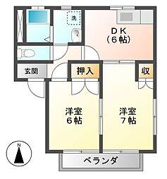 エステートピアU島田[2階]の間取り