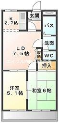 岡山県岡山市中区長岡丁目なしの賃貸マンションの間取り