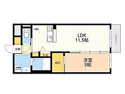 仮)野芥3丁目 新築賃貸マンション 1階1DKの間取り