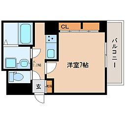 近鉄大阪線 五位堂駅 徒歩7分の賃貸アパート 1階1Kの間取り