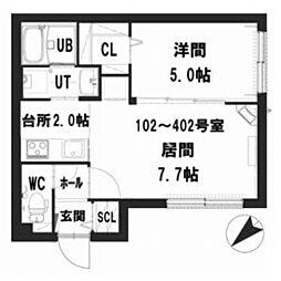 仮)グランメール 東札幌6-5 3階1LDKの間取り