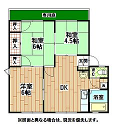福岡県北九州市八幡西区永犬丸東町1丁目の賃貸アパートの間取り