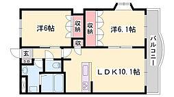 JR姫新線 播磨高岡駅 徒歩20分の賃貸マンション 4階2LDKの間取り