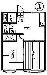ハイツ宝C[2階]の間取り