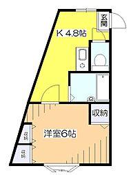 東京都東村山市本町2丁目の賃貸マンションの間取り