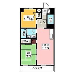 愛知県名古屋市瑞穂区萩山町1丁目の賃貸マンションの間取り
