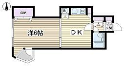 カゼッタ駒[202号室]の間取り