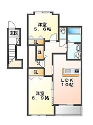 JR加古川線 社町駅 徒歩31分の賃貸アパート 2階2LDKの間取り
