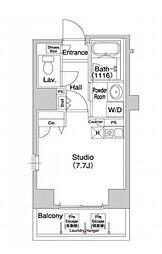 都営浅草線 宝町駅 徒歩8分の賃貸マンション 8階ワンルームの間取り