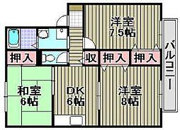 セジュール黒田2[2階]の間取り