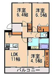 (仮)D-room阿恵II[3階]の間取り