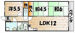 福岡県北九州市小倉南区上曽根新町の賃貸マンションの間取り