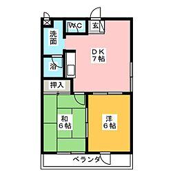 スカイハイツ小田[8階]の間取り