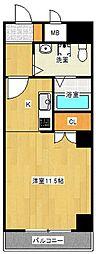 Osaka Metro谷町線 太子橋今市駅 徒歩2分の賃貸マンション 9階ワンルームの間取り
