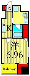 東京メトロ日比谷線 入谷駅 徒歩1分の賃貸マンション 4階1Kの間取り