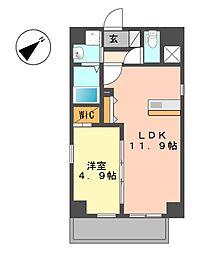 愛知県名古屋市北区平安1丁目の賃貸マンションの間取り