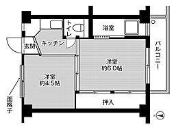 ビレッジハウス平山崎1号棟 4階2Kの間取り