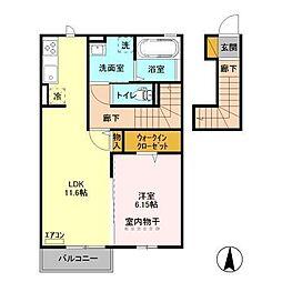 メゾンクレールE[2階]の間取り