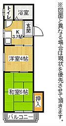 シャトレ黒崎[4階]の間取り