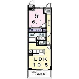 長野県松本市庄内3丁目の賃貸マンションの間取り