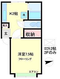 スカイパレスM1[2階]の間取り