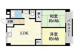 第3マンション北 4階2LDKの間取り