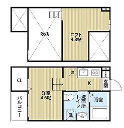 愛知県名古屋市西区名西2丁目の賃貸アパートの間取り