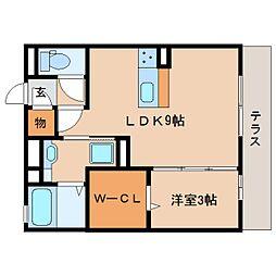 静岡県静岡市清水区渋川3丁目の賃貸アパートの間取り